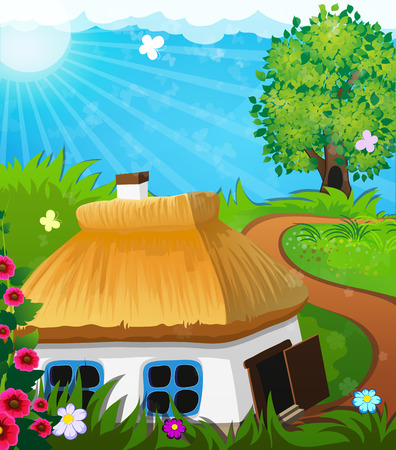 thatch: Rural landscape with a small house with a thatched roof. Lonely tree in a meadow in the background Illustration