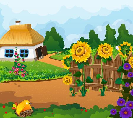 chaume: Paysage rural avec une petite maison avec un toit de chaume. Cl�ture en bois avec des fleurs et un poussin dans un nid au premier plan Illustration