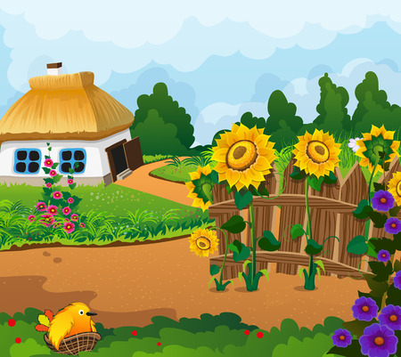 thatched: Rural landscape with a small house with a thatched roof. Wooden fence with flowers and a chick in a nest in the foreground