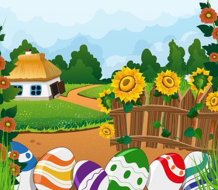 chaume: Paysage rural de P�ques avec une petite maison avec un toit de chaume sur la prairie. Painted oeufs de P�ques pr�s d'une cl�ture en bois au premier plan