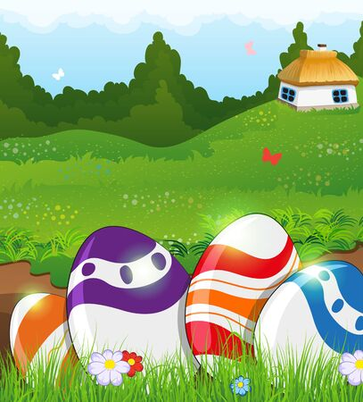 thatched: Painted Easter eggs in the grass on a green meadow. Small rural house with a thatched roof in the background