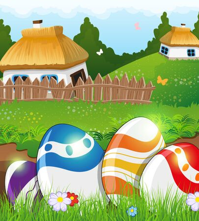 rural houses: Painted Easter eggs in the grass on a green meadow. Two small rural houses with thatched roofs in the background