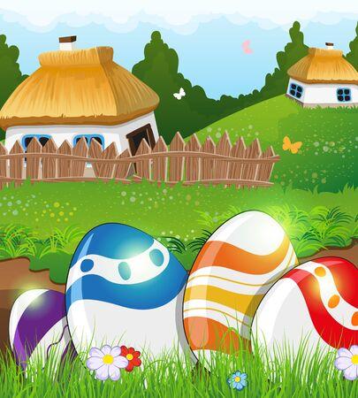 chaume: Painted oeufs de P�ques dans l'herbe sur une verte prairie. Deux petites maisons rurales aux toits de chaume dans le fond