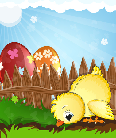 nestling: Little chicken grazing in the grass near a wooden fence. Painted Easter eggs in the background