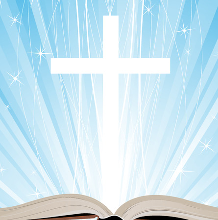 Open book and cross on a blue background Illustration