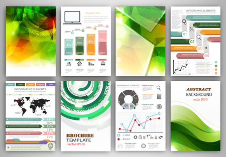 digital book: Concept vector set of flyer and brochure design templates.  Business technology internet and networking  abstract  backgrounds. Creative icons and backgrounds for web and mobile applications.