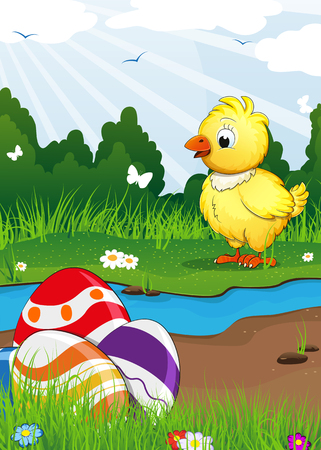 nestling: Chicken and Easter eggs near the creek on a green spring meadow. Easter scene Illustration