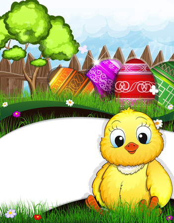 Fluffy chicken sitting in the grass in the meadow. Painted Easter eggs and green tree near a wooden fence in the background Vector