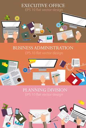 経営管理、計画、実行、管理、事務作業。フラットなデザインの創造的な図のセットです。Web デザインやチラシのための概念
