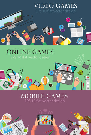 game equipment: Video games and entertainment concept illustration set of flat design. Concept for web design and flyers
