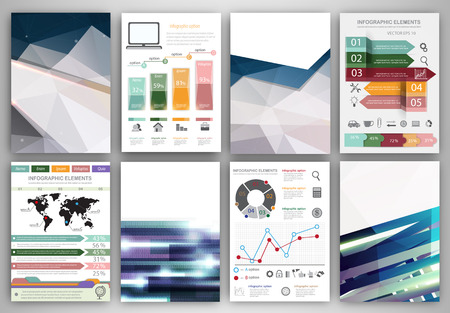 book cover: Abstract vector backgrounds and brochures for web and mobile applications. Business and technology infographic, icons, creative template design for presentation, poster, cover, booklet, banner.