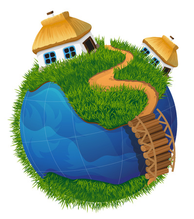 thatched: Earth globe with the rural landscape. Two small house with a thatched roof on a green meadow with a footpath and wooden bridge. Ecology concept.  Earth Day illustration.