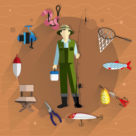cartoon hat: Fisherman in overalls with a fishing rod in his hands. Around him fishing tackle and accessories. Flat style icons