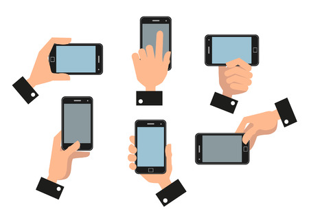 holding smart phone: Human hand holding a mobile smart phone in different positions isolated on white background Illustration