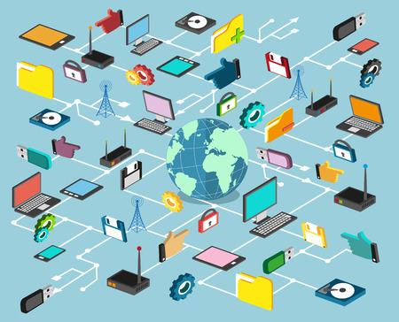 コンピューター技術、ネットワーク、データ処理。インフォ グラフィック要素のセット  イラスト・ベクター素材
