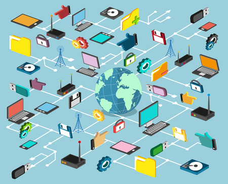 La technologie informatique, réseau et le traitement des données. Ensemble d'éléments le foot Banque d'images - 39542792