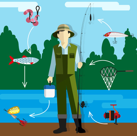 Fisherman in overalls with a fishing rod on the riverbank. Around him fishing tackle and accessories. Flat style infographics Vector