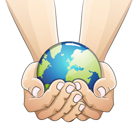 Hands holding the earth globe on white background. Saving the earth concept.  Earth Day illustration. Vettoriali