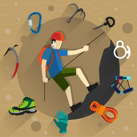climbing: Escalador en casco se eleva sobre una roca. A su alrededor, equipos y accesorios de escalada. Iconos de estilo Flat Vectores