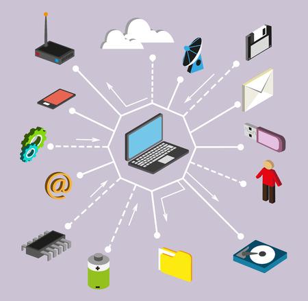 La technologie informatique, réseau et le traitement des données. Ensemble d'éléments le foot Banque d'images - 39543604