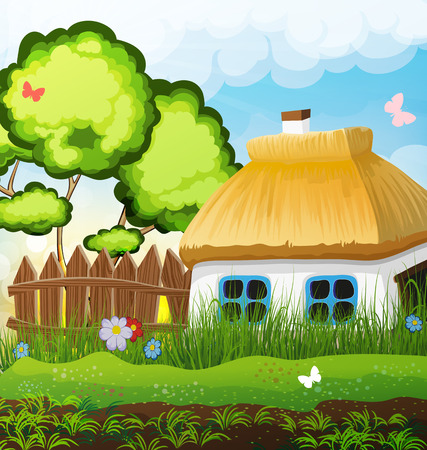 Rural landscape with a small house with a thatched roof. Lonely tree in a meadow in the background Illustration