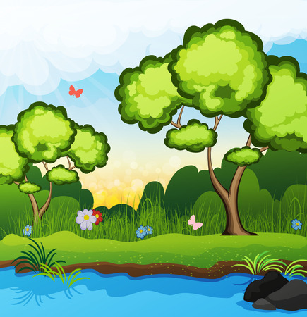 riverbank: Two trees on the riverbank. Butterflies fly over the grass. spring landscape Illustration
