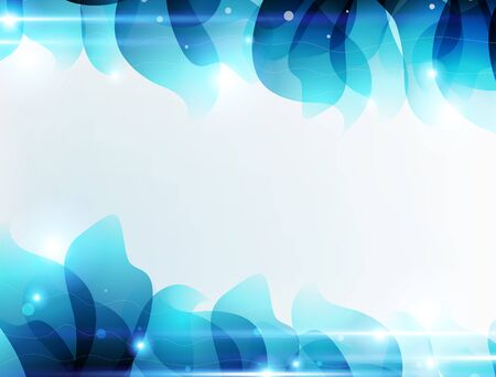 white background'abstract: Transparent blue petals on a white background. Abstract background with place for text