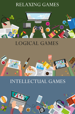 intellectual: Relaxing, logical and intellectual video games concept illustration background set of flat design. Concept for web design and flyers