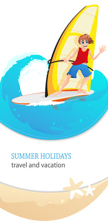sailboard: Young man on a sailboard sails on the waves. Summer holidays, travel and vacation concept