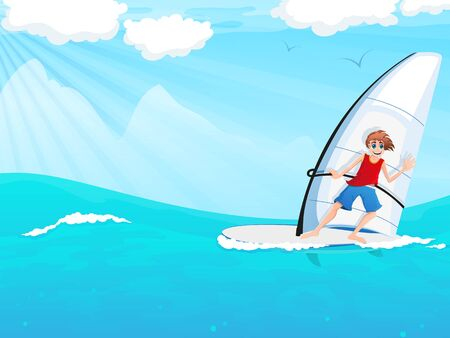 Young man on a sailboard sails on the waves Illustration