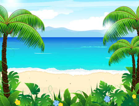 Sandy coast with palm trees and tropical vegetation Stock Illustratie