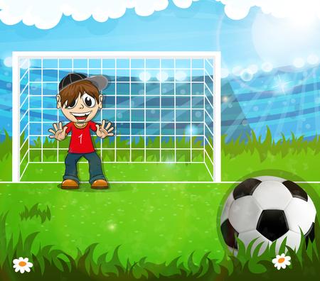 jugador de futbol americano: Portero se encuentra en la puerta de f�tbol y espera a golpear la bola