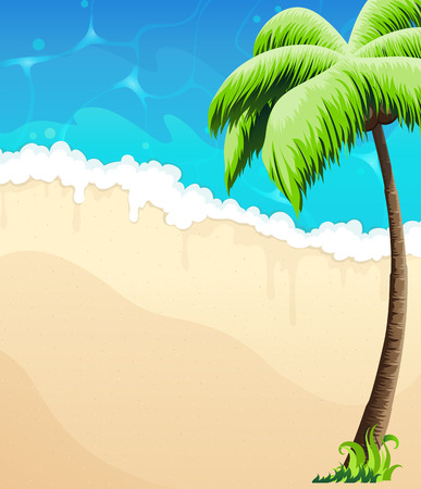 beach panorama: Sandy coast with palm tree and tropical vegetation. Illustration