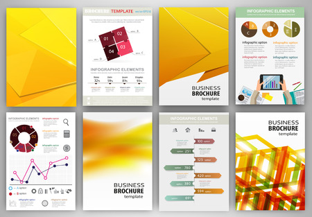 web site design template: Abstract vector backgrounds and brochures for web and mobile applications. Business and technology infographic, icons, creative template design for presentation, poster, cover, booklet, banner.