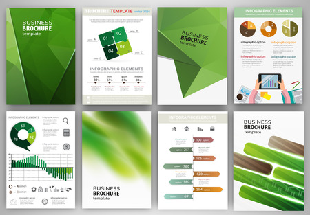 set template: Abstract vector backgrounds and brochures for web and mobile applications. Business and technology infographic, icons, creative template design for presentation, poster, cover, booklet, banner.