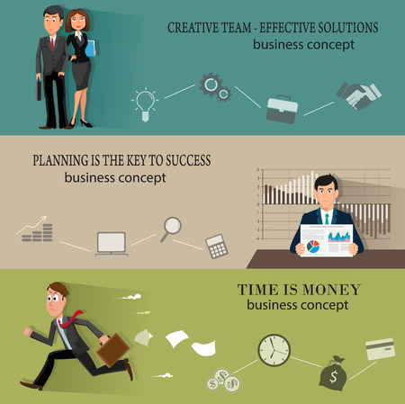 business education: Business infographic templates backgrounds with people in suits and abstract graphs and icons. Creative illustration set of flat design. Concept for web design and flyers Illustration