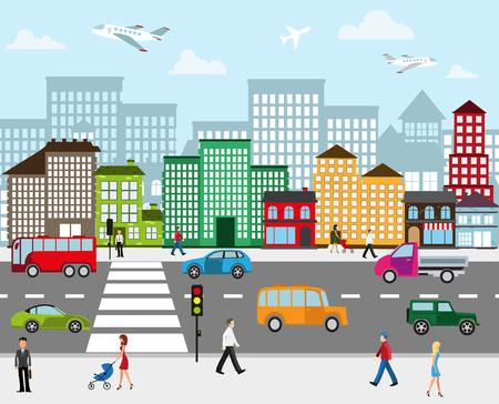 transportation: Paysage urbain. Vue de rue de la ville avec des bâtiments industriels et des centres commerciaux. Chaussée avec circulation automobile et des piétons sur le trottoir au premier plan Illustration