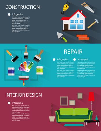 Architecture, construction, décoration intérieure horizons conceptuels avec des icônes et des éléments infographiques Vecteurs