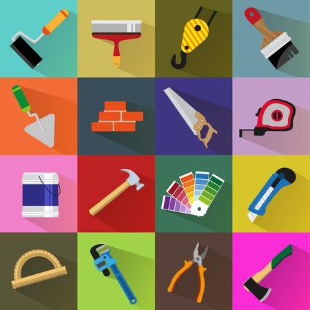 Construction tools on colored backgrounds. Flat style icon set