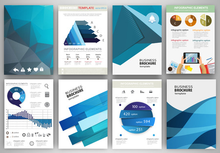 set: Abstract vector backgrounds and brochures for web and mobile applications. Business and technology infographic, icons, creative template design for presentation, poster, cover, booklet, banner.