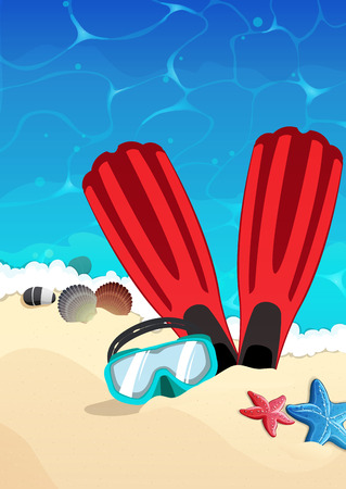 flippers: Sea beach with flippers and mask in the sand