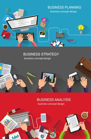 design objects: Business strategy, planning, analysis, management, office work. Creative illustration set of flat design. Concept for web design and flyers
