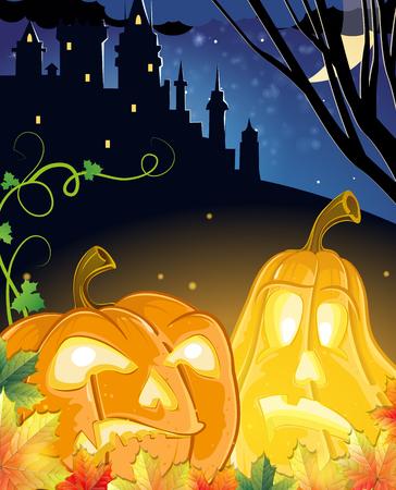 jack o  lanterns: Jack O Lanterns with glowing eyes near the old haunted castle. Halloween night scene