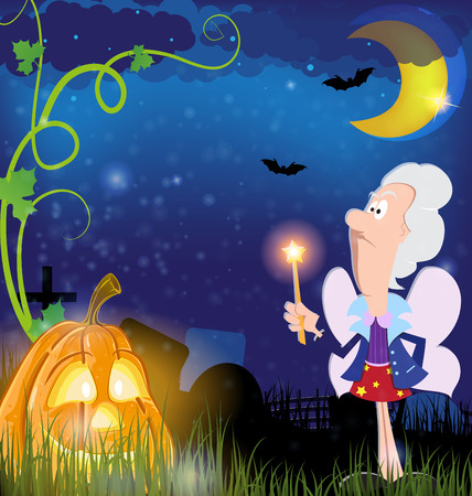 fairy wand: Fairy godmother with magic wand  and jack o lantern in the cemetery. Halloween night scene Illustration