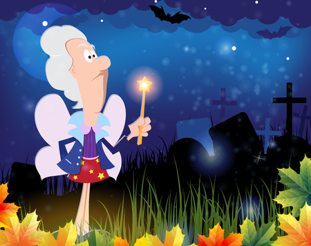 godmother: Fairy godmother with magic wand in the cemetery. Halloween night scene