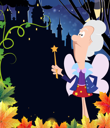 godmother: Fairy godmother with a magic wand near the ancient castle with glowing windows. Halloween night scene
