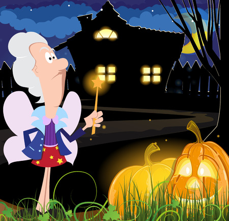 godmother: Fairy godmother with a magic wand and Jack o lanterns near the house with glowing windows. Halloween night scene
