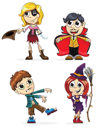 zombie cartoon: Children dressed as a vampire, zombie, witch and pirate. Halloween characters on a white background Illustration