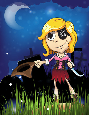 pirate girl: Pirate girl with knife in the cemetery. Halloween night scene