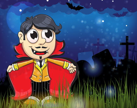 the night: Smiling young vampire in the night cemetery. Halloween night scene Illustration